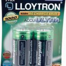 Lloytron Accu ULTRA Rechargeable Batteries 3000mAh D (2)