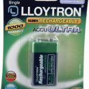 Lloytron Accu ULTRA Rechargeable Batteries 250mAh 9v